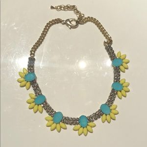 Blue and yellow crystal statement necklace